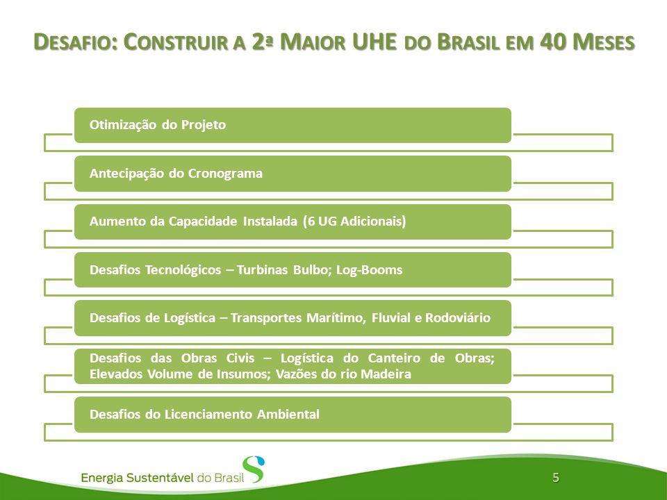 Desafio: Construir a 2ª Maior UHE do Brasil em 40 Meses