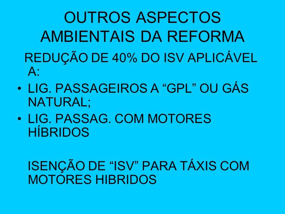 OUTROS ASPECTOS AMBIENTAIS DA REFORMA