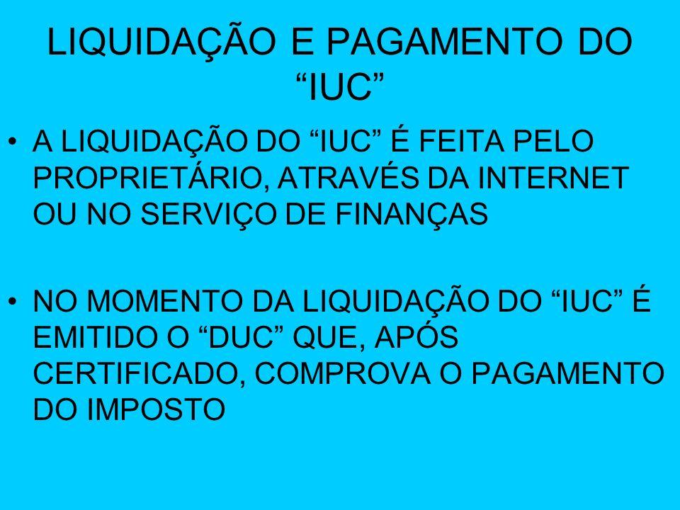LIQUIDAÇÃO E PAGAMENTO DO IUC