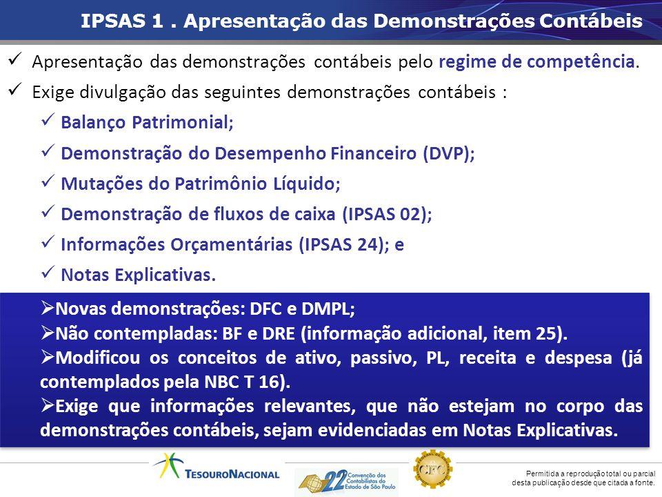 Apresentação das demonstrações contábeis pelo regime de competência.