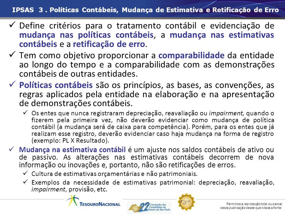 IPSAS 3 . Políticas Contábeis, Mudança de Estimativa e Retificação de Erro