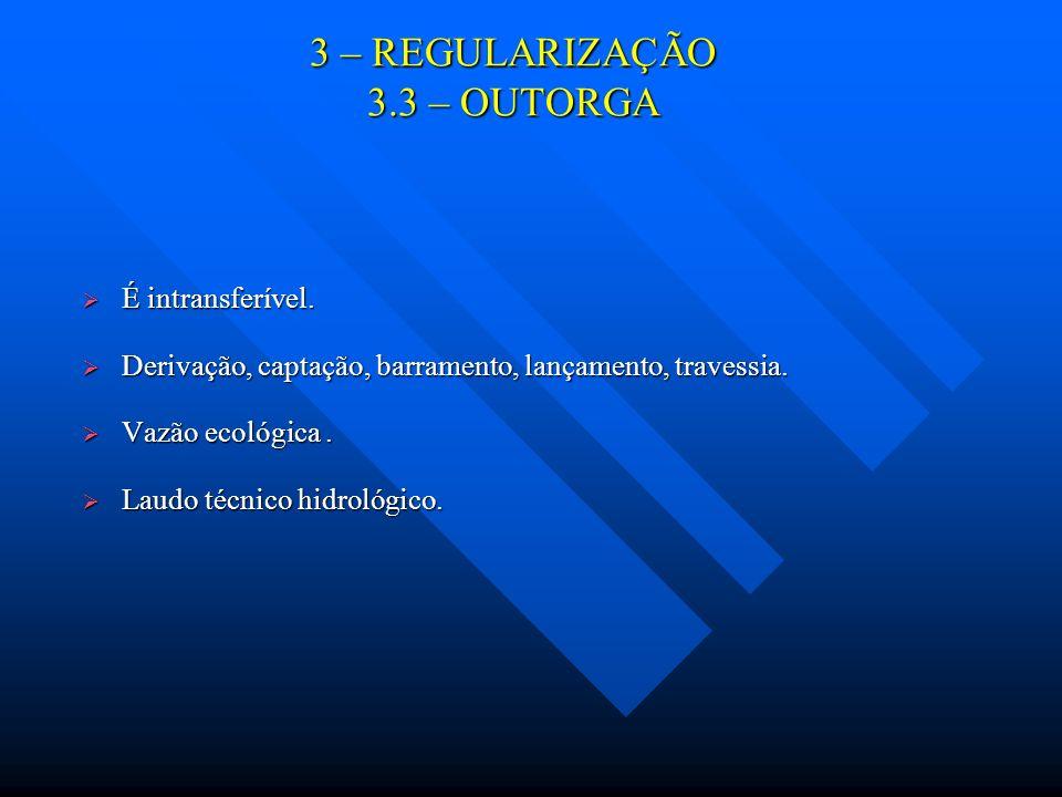 3 – REGULARIZAÇÃO 3.3 – OUTORGA