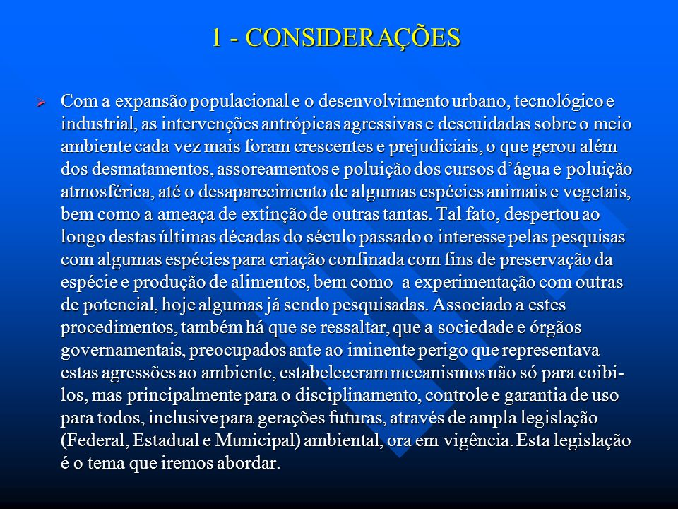 1 - CONSIDERAÇÕES