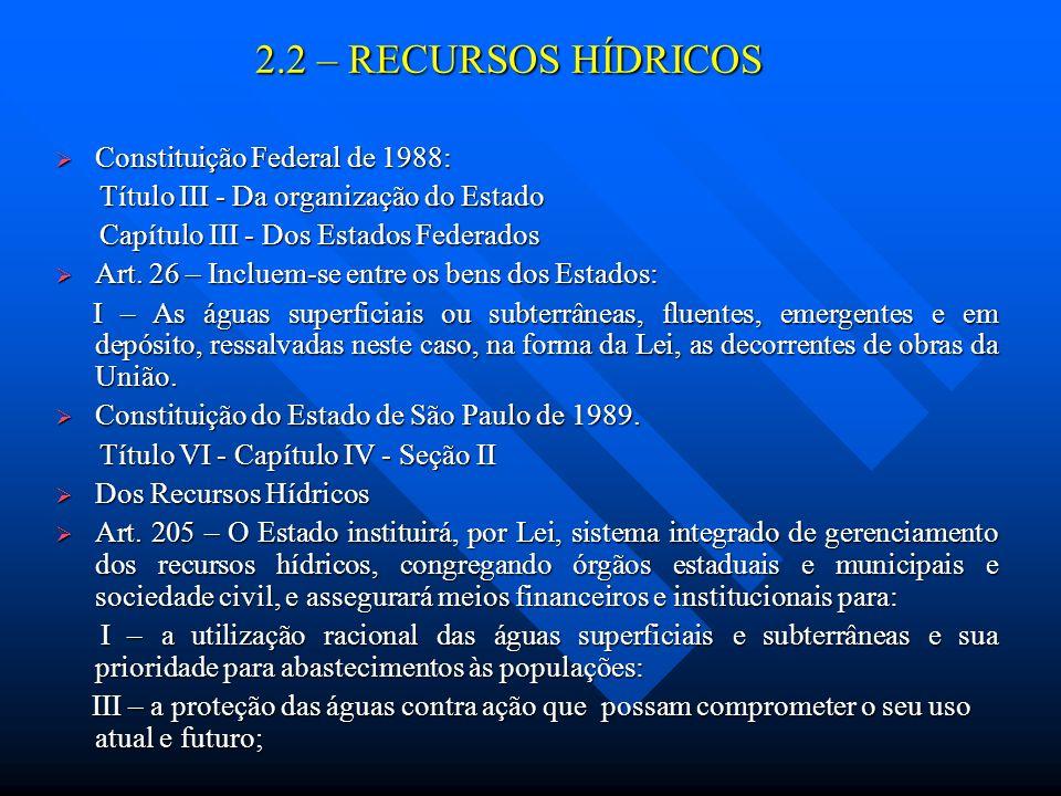 2.2 – RECURSOS HÍDRICOS Constituição Federal de 1988:
