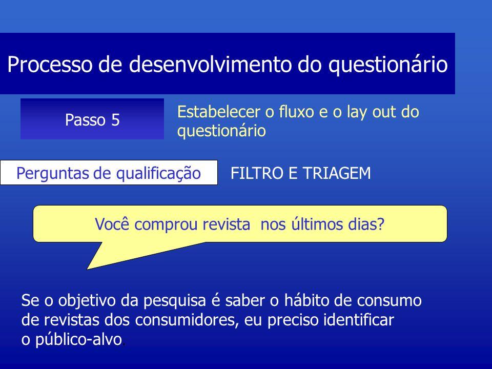 Processo de desenvolvimento do questionário