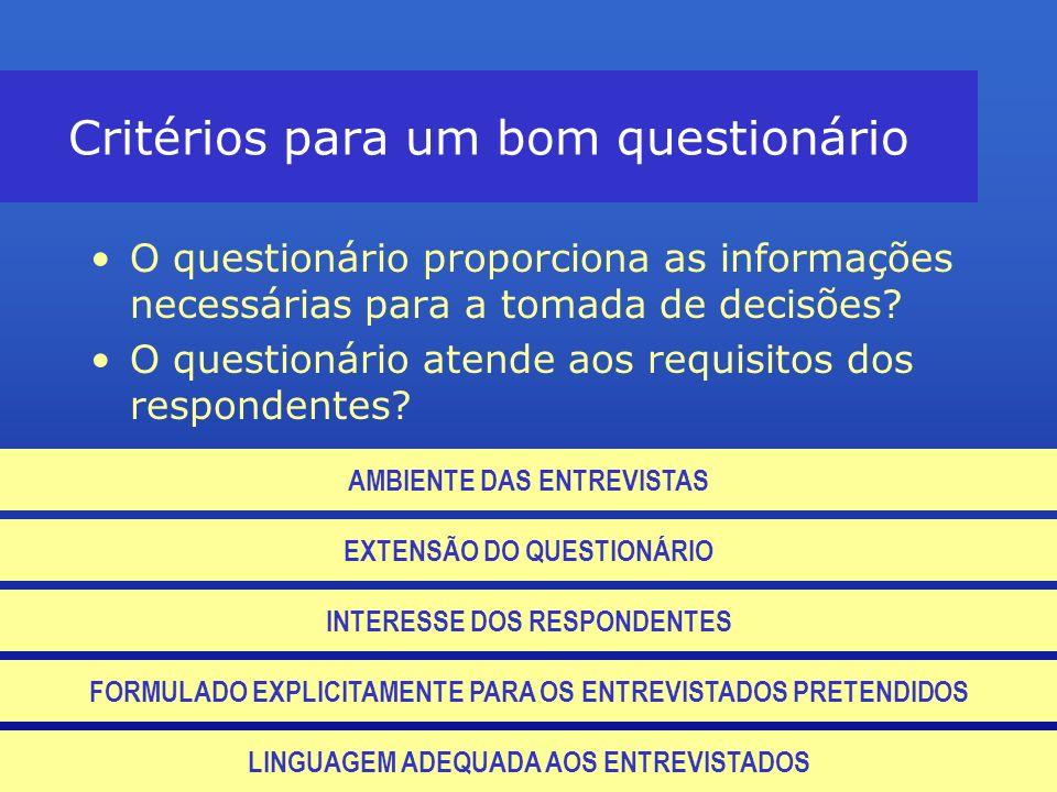 Critérios para um bom questionário