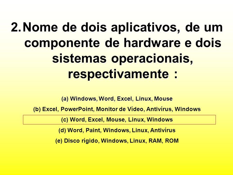 Nome de dois aplicativos, de um componente de hardware e dois sistemas operacionais, respectivamente :