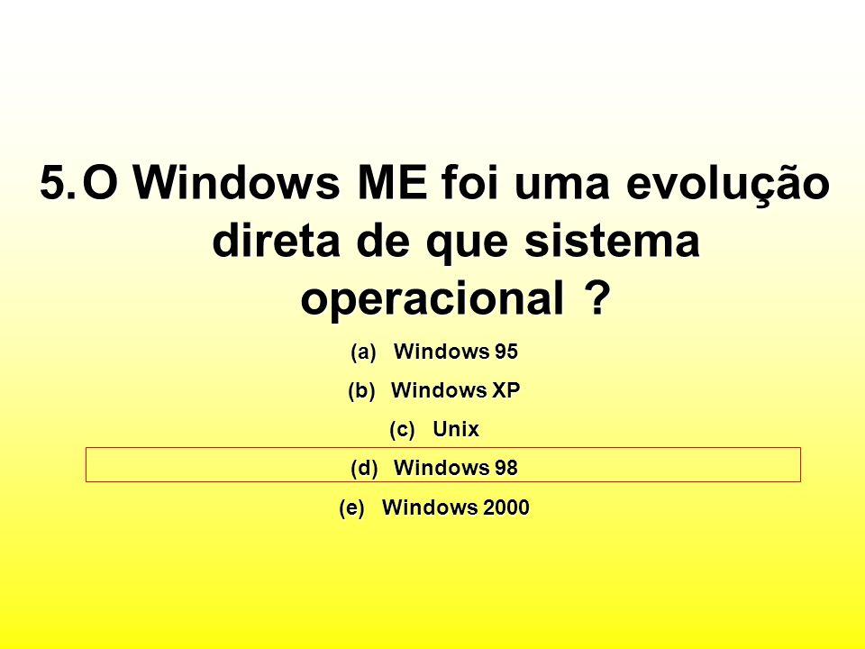 O Windows ME foi uma evolução direta de que sistema operacional
