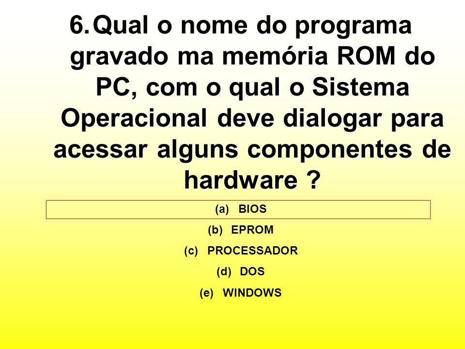 Qual o nome do programa gravado ma memória ROM do PC, com o qual o Sistema Operacional deve dialogar para acessar alguns componentes de hardware
