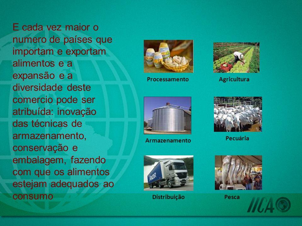 E cada vez maior o numero de países que importam e exportam alimentos e a expansão e a diversidade deste comercio pode ser atribuída: inovação das técnicas de armazenamento, conservação e embalagem, fazendo com que os alimentos estejam adequados ao consumo