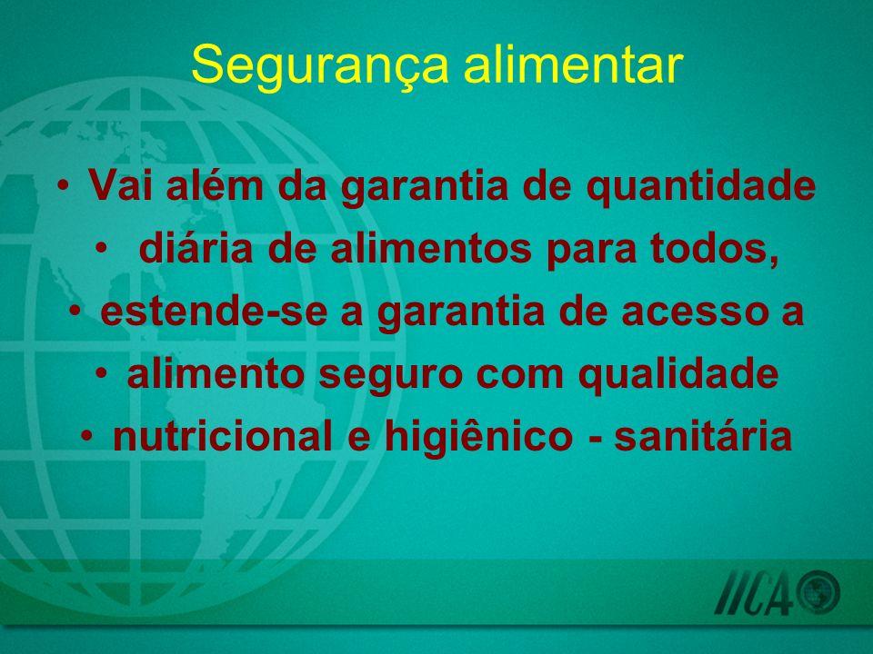 Segurança alimentar Vai além da garantia de quantidade