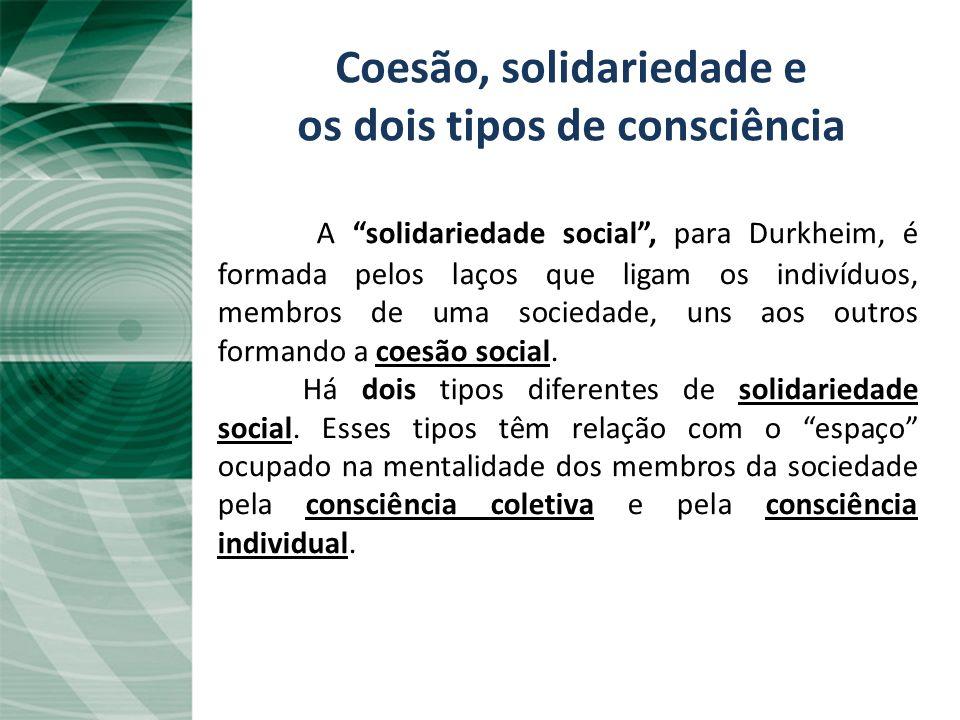 Coesão, solidariedade e os dois tipos de consciência
