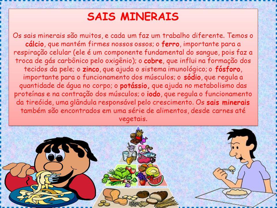 SAIS MINERAIS Os sais minerais são muitos, e cada um faz um trabalho diferente.