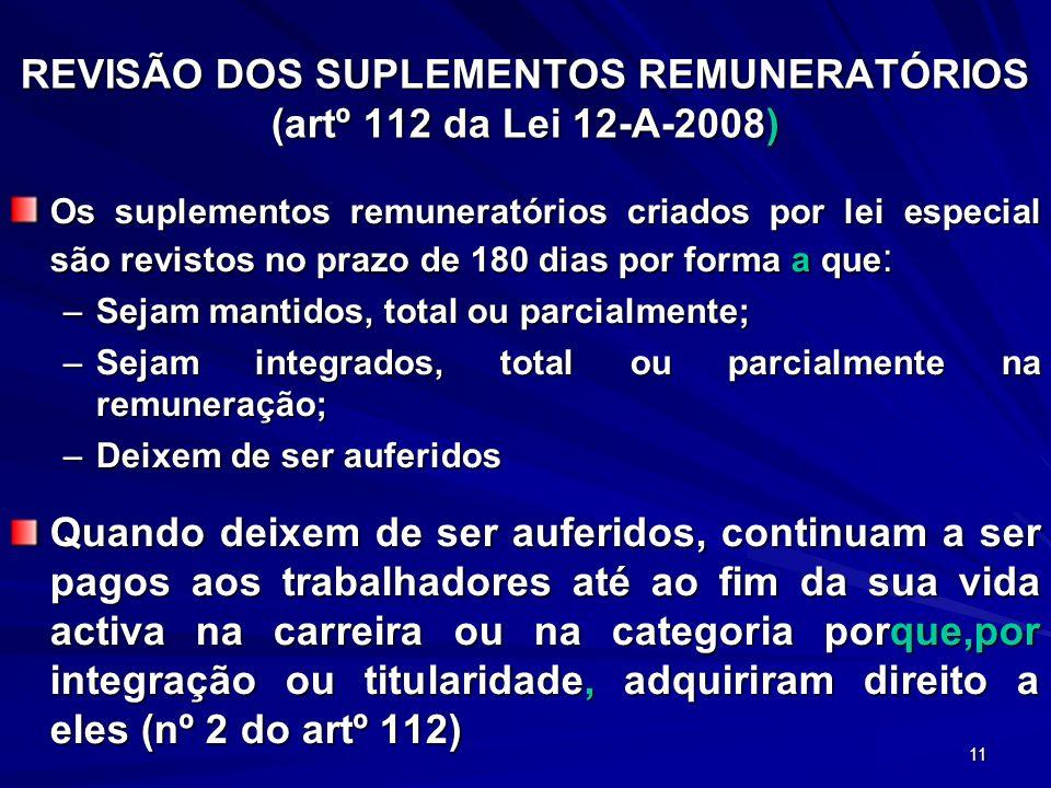 REVISÃO DOS SUPLEMENTOS REMUNERATÓRIOS (artº 112 da Lei 12-A-2008)