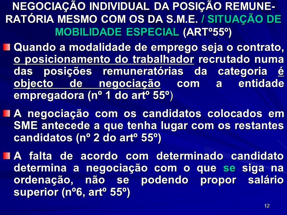 NEGOCIAÇÃO INDIVIDUAL DA POSIÇÃO REMUNE-RATÓRIA MESMO COM OS DA S.M.E. / SITUAÇÃO DE MOBILIDADE ESPECIAL (ARTº55º)
