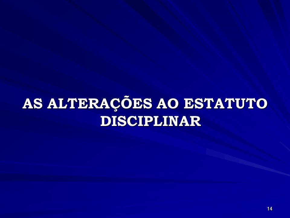 AS ALTERAÇÕES AO ESTATUTO DISCIPLINAR