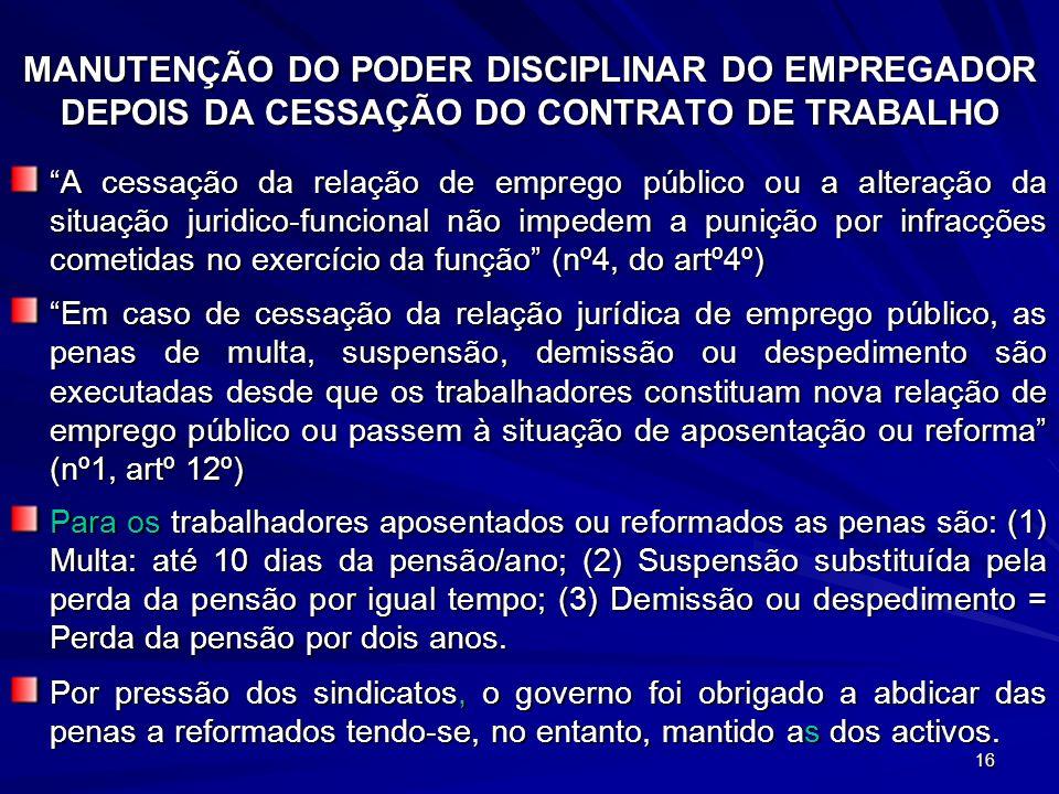 MANUTENÇÃO DO PODER DISCIPLINAR DO EMPREGADOR DEPOIS DA CESSAÇÃO DO CONTRATO DE TRABALHO