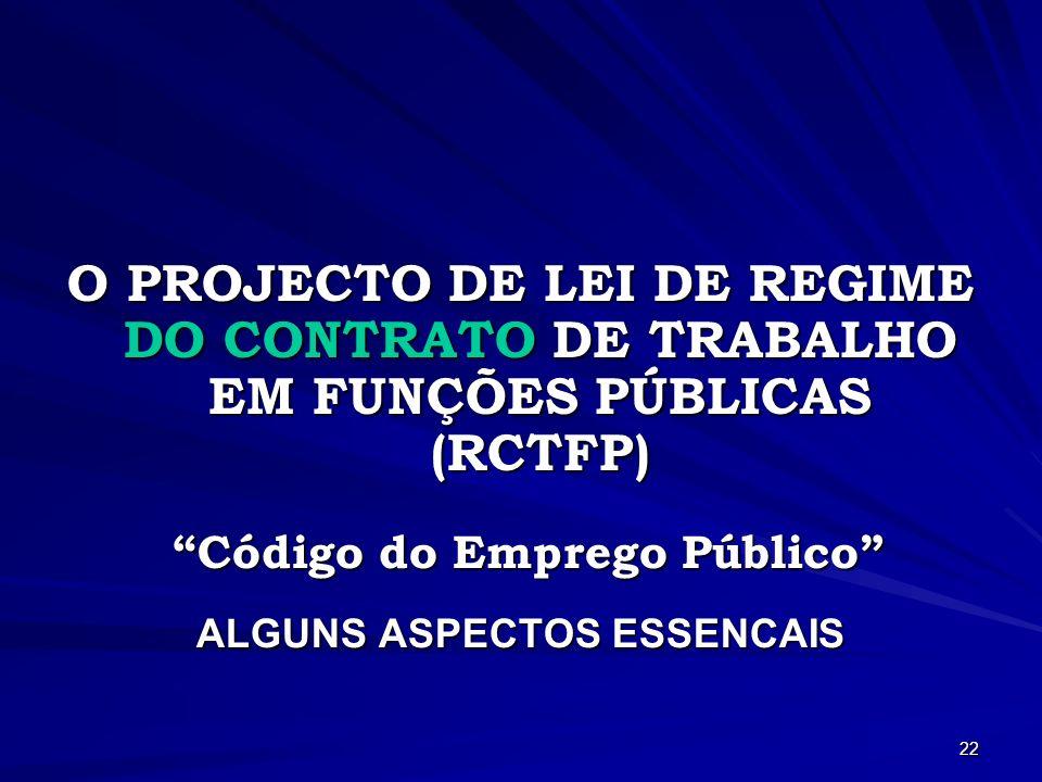 Código do Emprego Público ALGUNS ASPECTOS ESSENCAIS