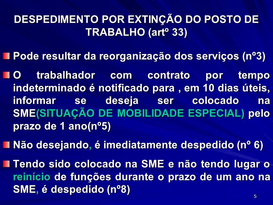 DESPEDIMENTO POR EXTINÇÃO DO POSTO DE TRABALHO (artº 33)