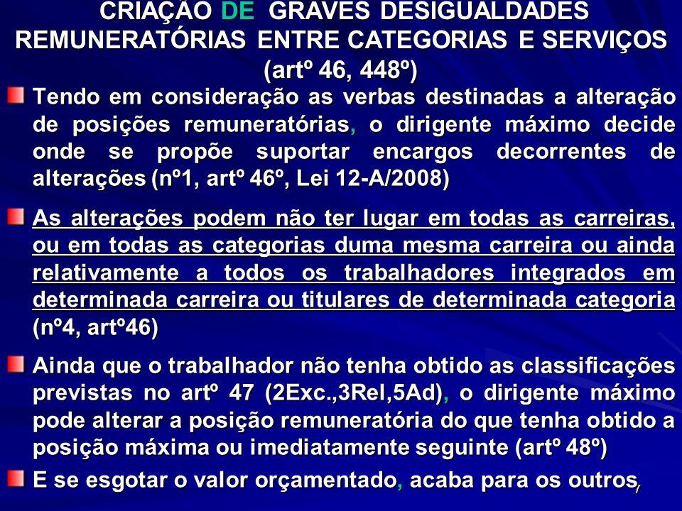 CRIAÇÃO DE GRAVES DESIGUALDADES REMUNERATÓRIAS ENTRE CATEGORIAS E SERVIÇOS (artº 46, 448º)