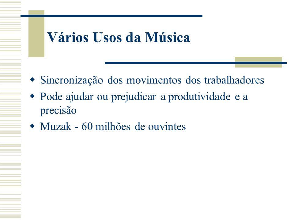 Vários Usos da Música Sincronização dos movimentos dos trabalhadores