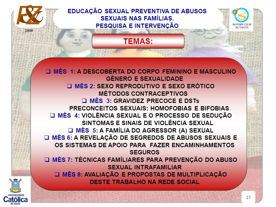 TEMAS: MÊS 1: A DESCOBERTA DO CORPO FEMININO E MASCULINO GÊNERO E SEXUALIDADE. MÊS 2: SEXO REPRODUTIVO E SEXO ERÓTICO.