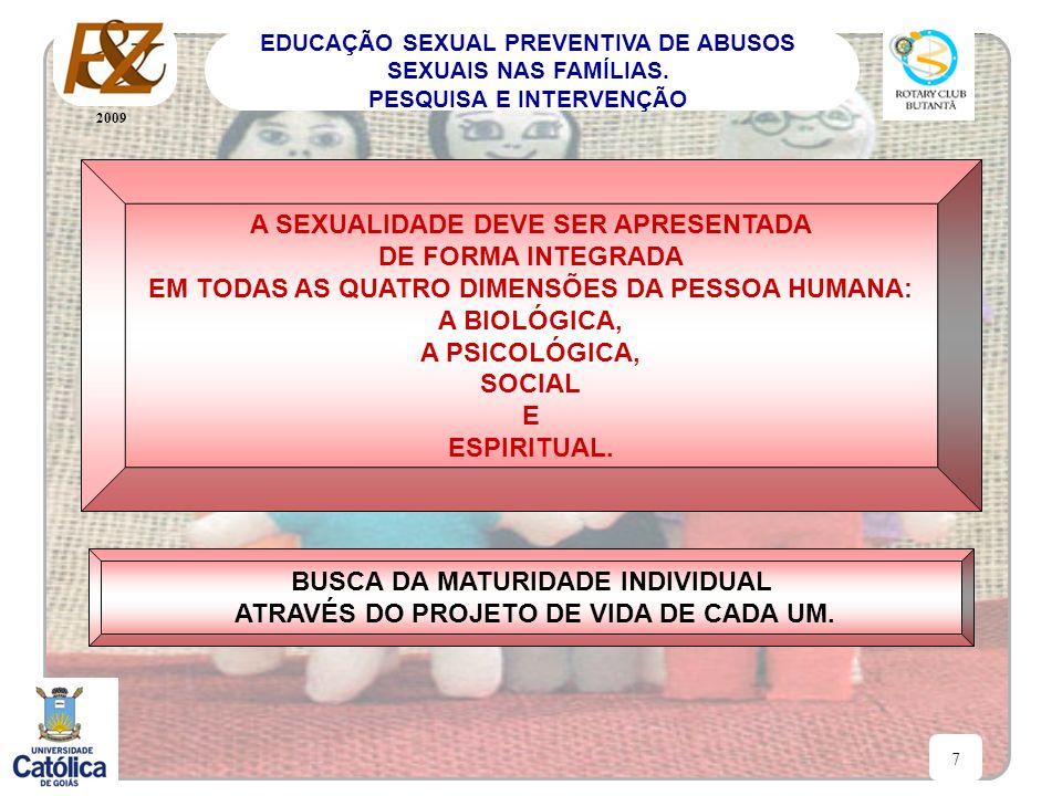 A SEXUALIDADE DEVE SER APRESENTADA DE FORMA INTEGRADA