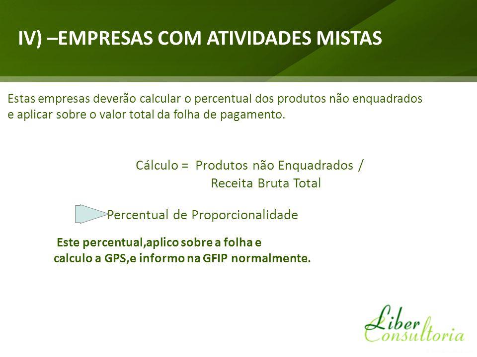 Cálculo = Produtos não Enquadrados /