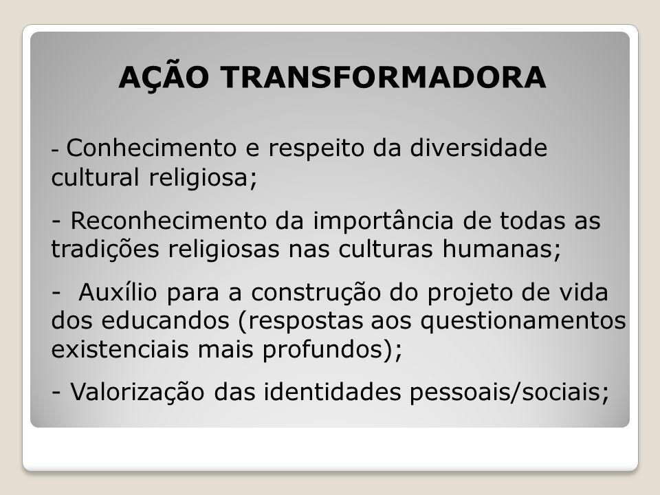 AÇÃO TRANSFORMADORA Conhecimento e respeito da diversidade cultural religiosa;