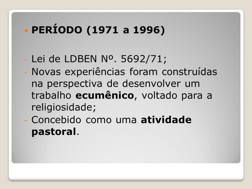 PERÍODO (1971 a 1996) Lei de LDBEN Nº. 5692/71;