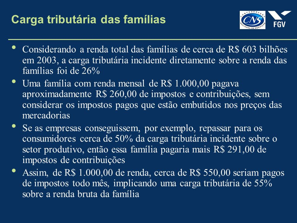 Carga tributária das famílias