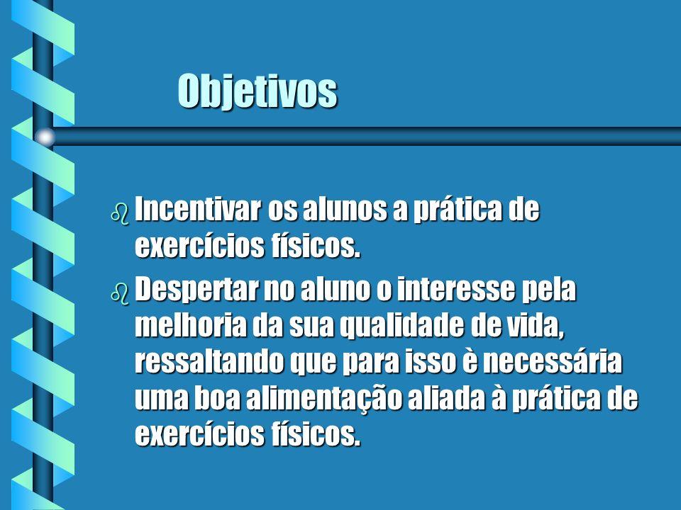 Objetivos Incentivar os alunos a prática de exercícios físicos.