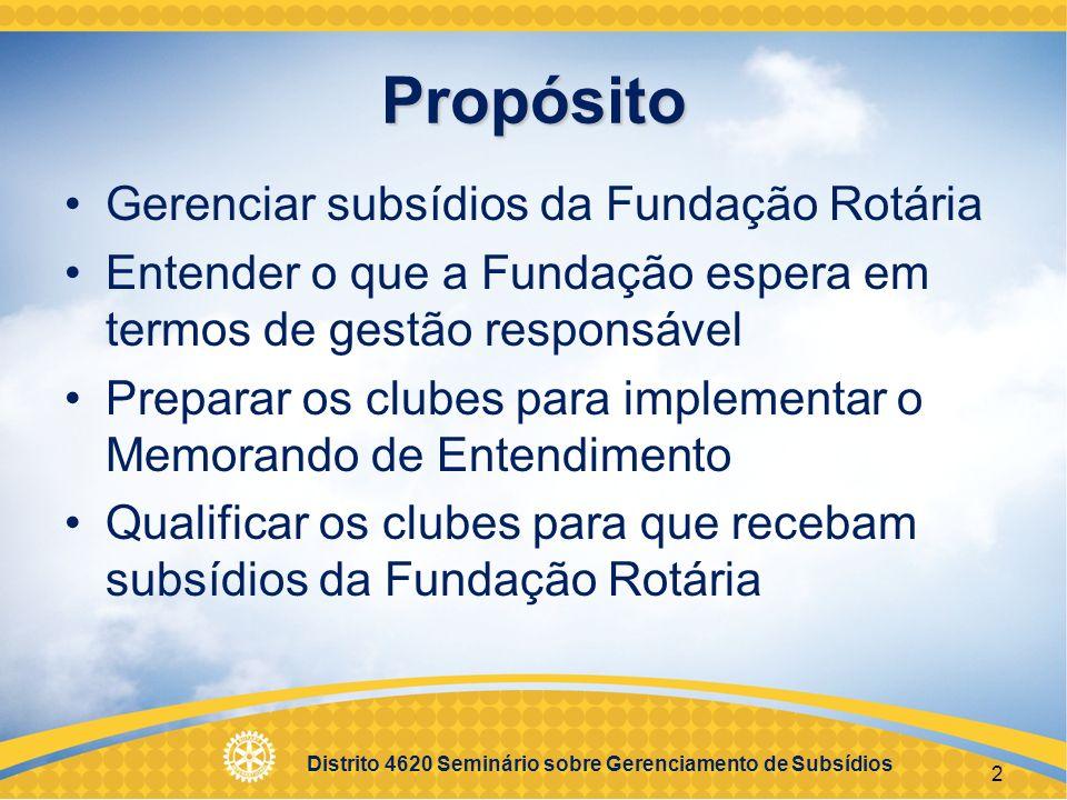Propósito Gerenciar subsídios da Fundação Rotária