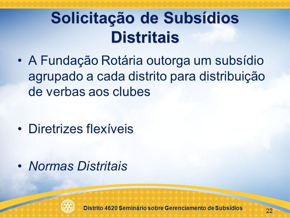 Solicitação de Subsídios Distritais
