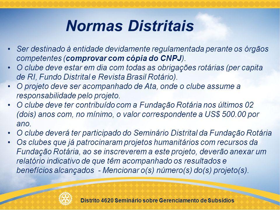 Normas Distritais Ser destinado à entidade devidamente regulamentada perante os órgãos competentes (comprovar com cópia do CNPJ).