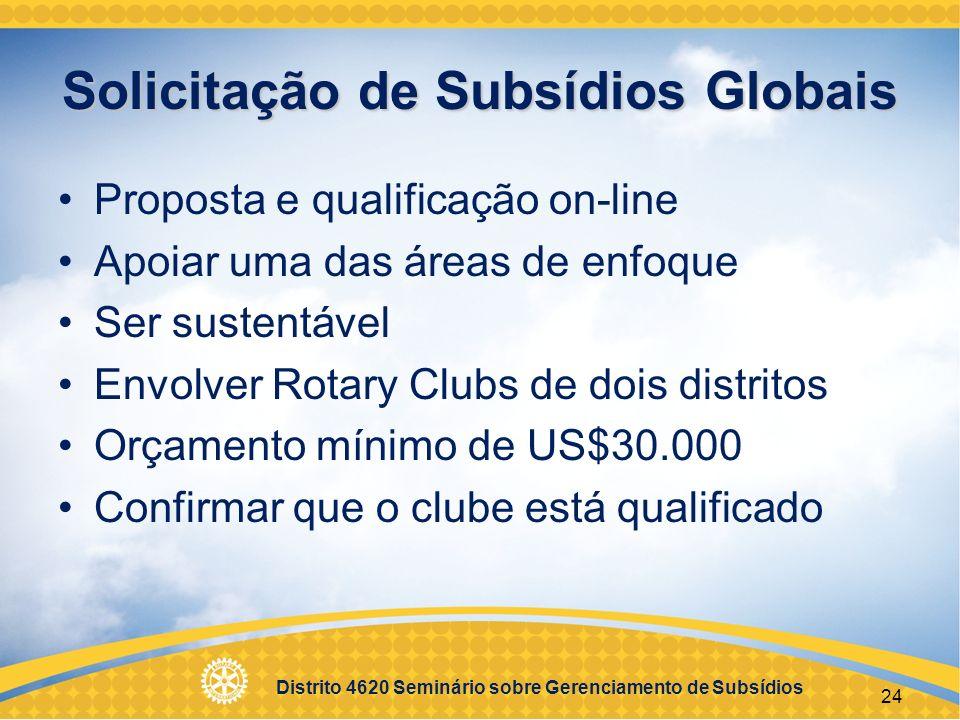 Solicitação de Subsídios Globais