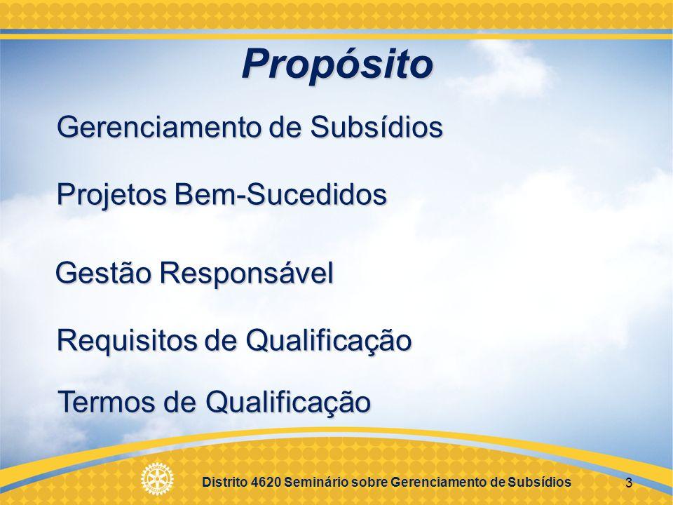 Propósito Gerenciamento de Subsídios Projetos Bem-Sucedidos