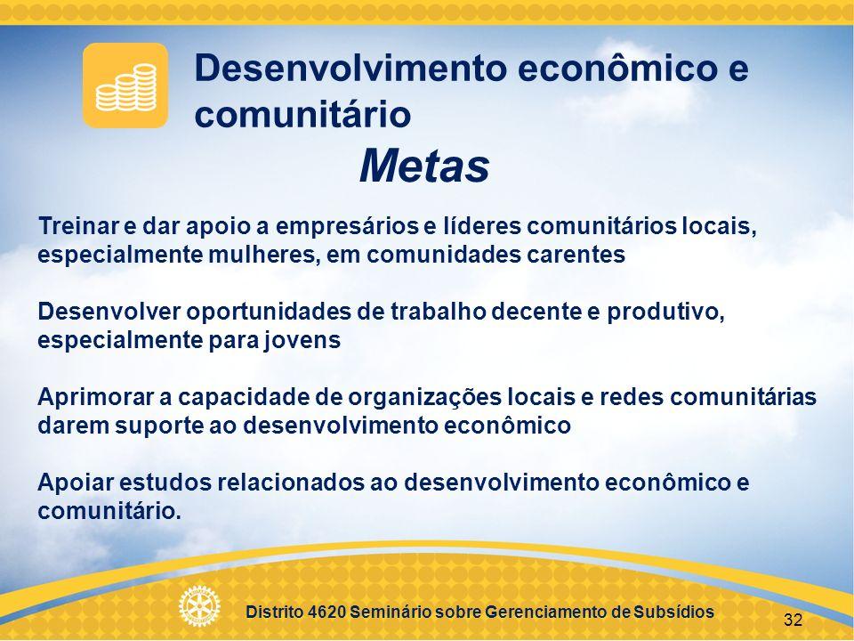 Metas Desenvolvimento econômico e comunitário