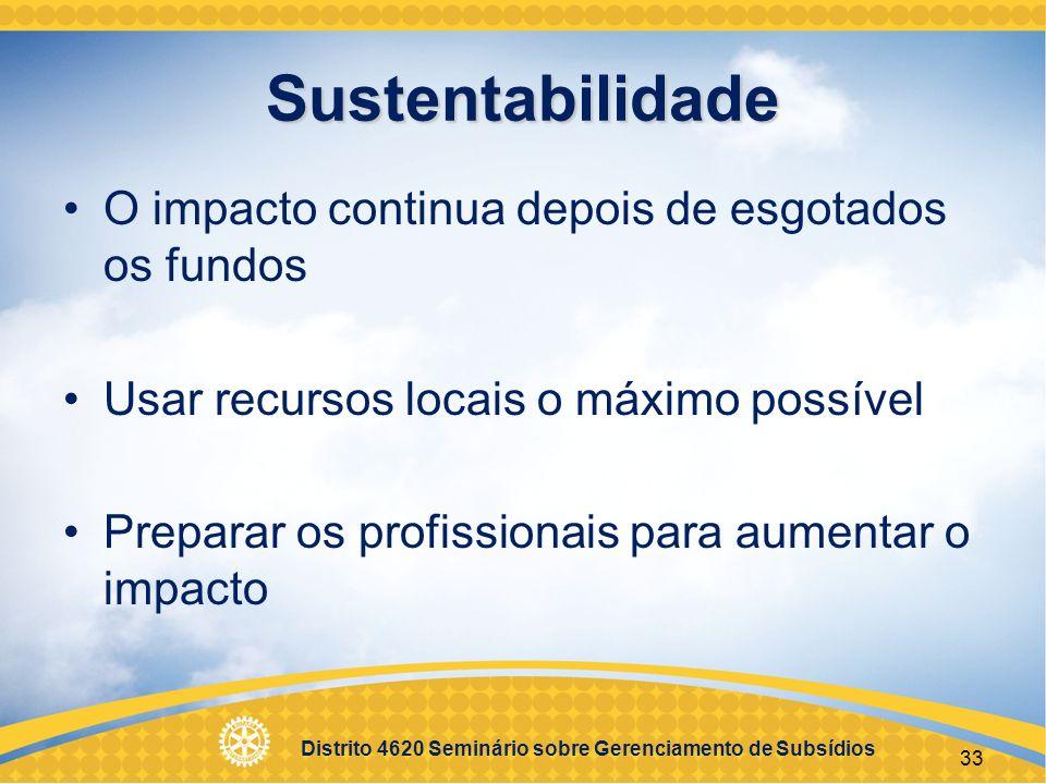 Sustentabilidade O impacto continua depois de esgotados os fundos