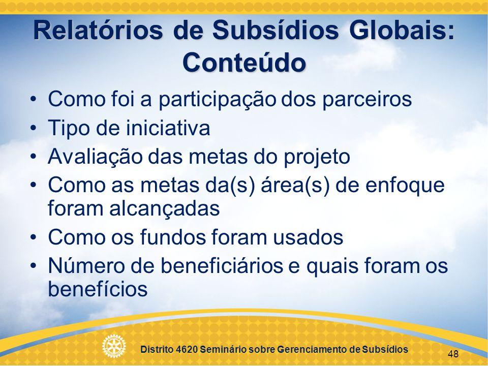 Relatórios de Subsídios Globais: Conteúdo