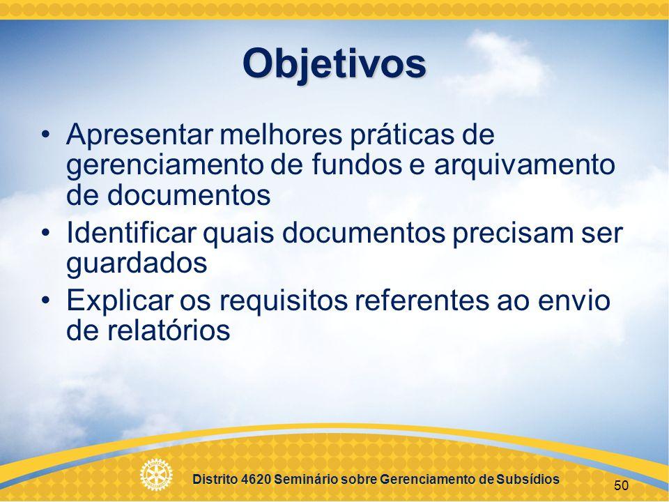 Objetivos Apresentar melhores práticas de gerenciamento de fundos e arquivamento de documentos. Identificar quais documentos precisam ser guardados.