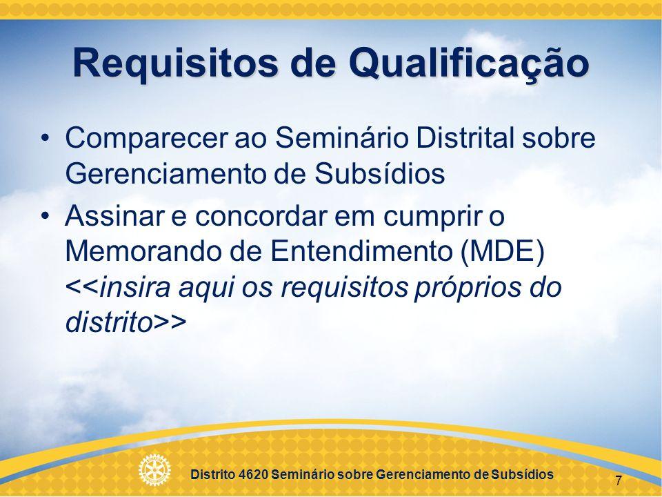 Requisitos de Qualificação