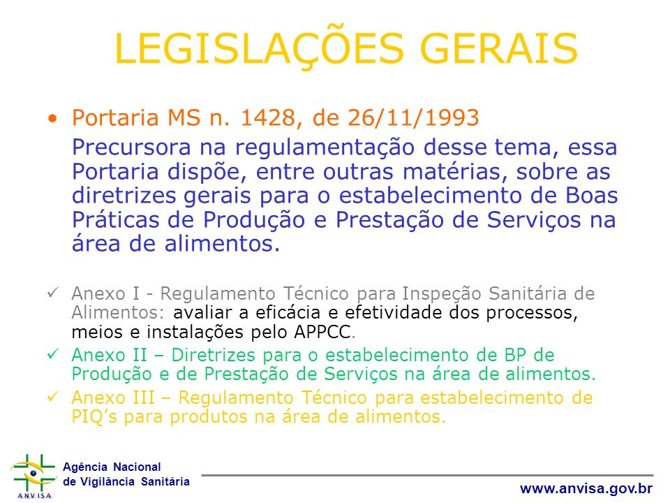 LEGISLAÇÕES GERAIS Portaria MS n. 1428, de 26/11/1993