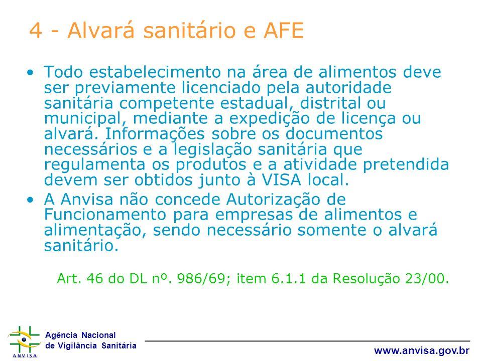 4 - Alvará sanitário e AFE