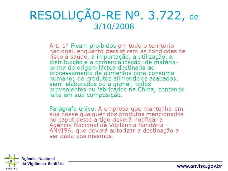 RESOLUÇÃO-RE Nº. 3.722, de 3/10/2008