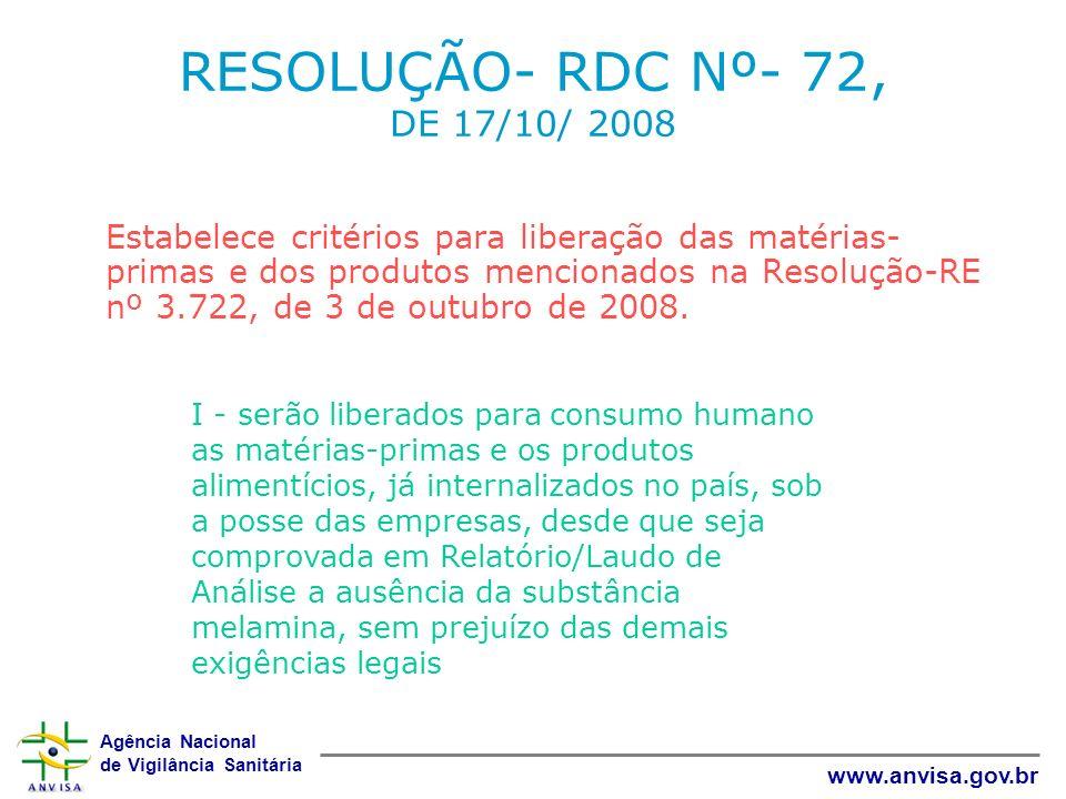 RESOLUÇÃO- RDC Nº- 72, DE 17/10/ 2008