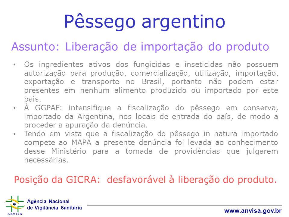 Pêssego argentino Assunto: Liberação de importação do produto