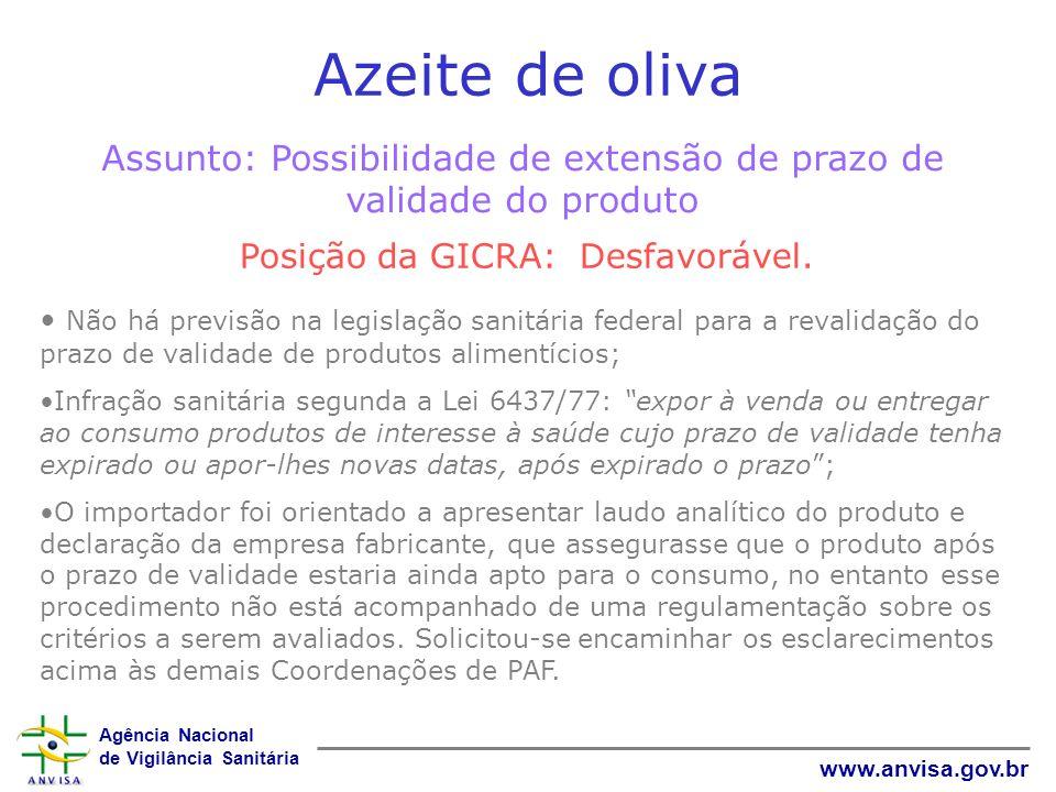 Azeite de oliva Assunto: Possibilidade de extensão de prazo de validade do produto. Posição da GICRA: Desfavorável.