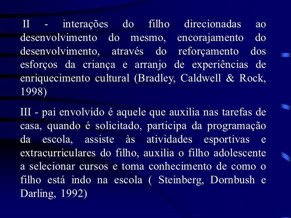 II - interações do filho direcionadas ao desenvolvimento do mesmo, encorajamento do desenvolvimento, através do reforçamento dos esforços da criança e arranjo de experiências de enriquecimento cultural (Bradley, Caldwell & Rock, 1998)