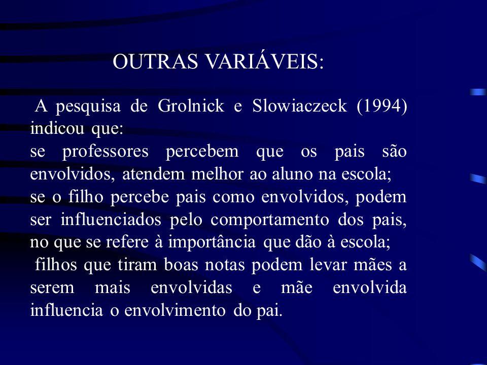 OUTRAS VARIÁVEIS: A pesquisa de Grolnick e Slowiaczeck (1994) indicou que: